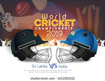 Sri Lanka VS india Cricket Match concept with golden trophy and other participant countries flags on stylish background.