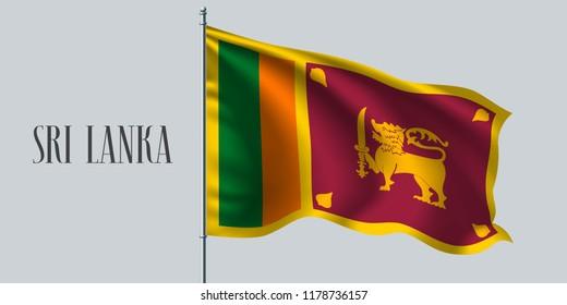 Sri Lanka waving flag on flagpole vector illustration. Green orange design element of Lankan wavy realistic flag as a symbol of country