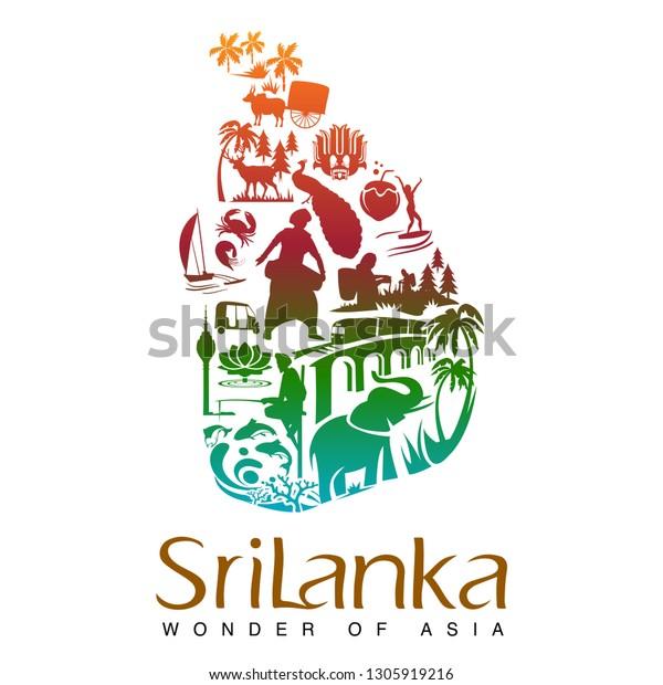 Sri Lanka Wonder Asia Stock Vector (Royalty Free) 1305919216
