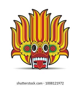 Sri Lankan devil dancing mask with red tongue vector drawing