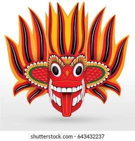 Sri Lankan traditional Fire Dancer Mask in vector format
