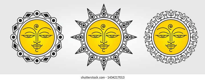 Sri Lankan Traditional Sun Face line art drawing.  South Asian antique style design. Sun and Moon faces ornaments. Sinhala Tamil new year elements.