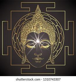 The Sri Yantra or Sri Chakra, form of mystical diagram, Shri Vidya school of Hindu tantra symbol. Sacred geometry vector design element. Vector illustration. Alchemy, occultism, spirituality.