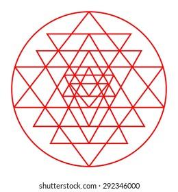 Sri Yantra detail, sacred geometry, triangles design vector,