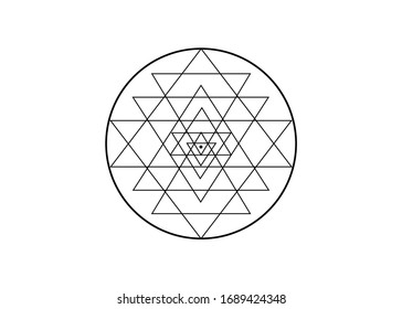 sri yantra hand drawn sketch for your design. Sacred geometry and alchemy symbol, vector isolated on white background