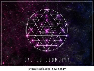Sri yantra. Sacred geometry vector design element. Alchemy, hipster sacred symbols on a