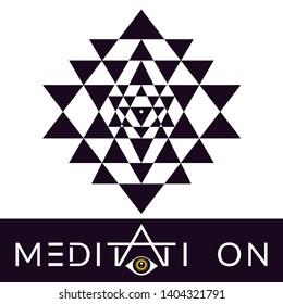 Sri Yantra sacred symbol for hypnotic meditation, vector illustration for your design