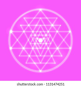 Sri Yantra - symbol of Hindu tantra formed by nine interlocking triangles that radiate out from the central point. Sacred geometry. Silver shine abstract vector illustration on pink background.