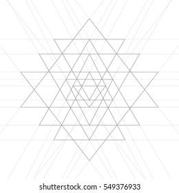 Sri yantra, a vector illustration of mystical diagram, hindu symbol