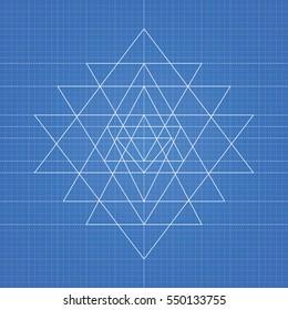 Sri yantra, a vector illustration of mystical diagram, hindu symbol sri yantra on blueprint paper background