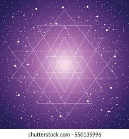 Sri yantra, a vector illustration of mystical diagram, hindu symbol sri yantra on space background with stars