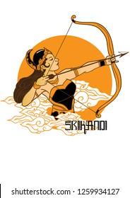 Srikandi female warrior puppet character