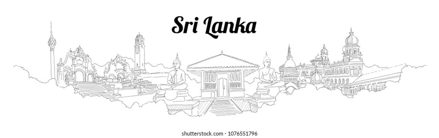 Sri-Lanka CITY city vector panoramic hand drawing illustration