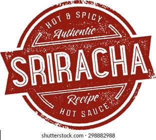 Sriracha Hot Sauce Label Stamp
