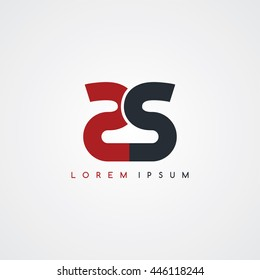 ss initial letter linked uppercase logo black red in white background