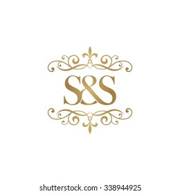 S&S Initial logo. Ornament ampersand monogram golden logo