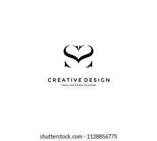 SS Letter with Love Heart Symbol Beauty Logo