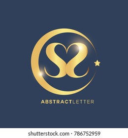 SS  Logo Design Template. Luxury Gold Letter Logo Vector eps.10