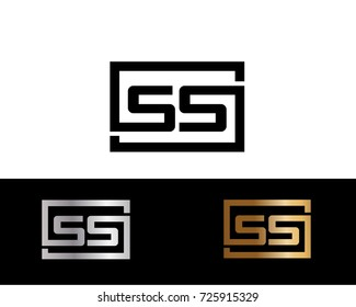 SS Logo. Letter Design Vector with Black Gold Silver Colors