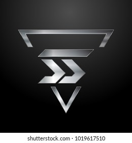 SS Logo, Metal Logo, Silver Logo, Monogram, Polygon