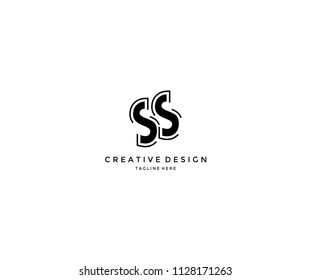 SS monogram with abstract outline shape logo