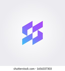 SS, S S modern letter logo in gradient color. Initial logo concept vector with minimalist geometric shape.