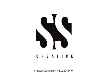 SS S S White Letter Logo Design with Black Square Vector Illustration Template.
