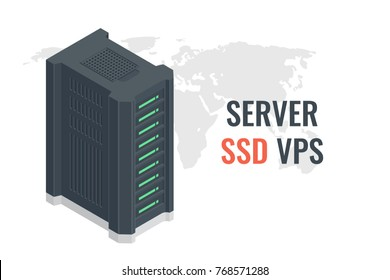 SSD VPS Server service, fast server room, computer system block on world map background vector isometric 3d isolated on white background