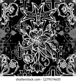 SSeamless pattern with gothic fantasy crosses with lily and roses on black. Fantasy decorative illustration, vector gothic symbols, occult abstract background