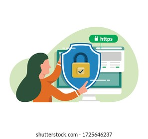 SSL certificate vector illustration. Secure your site with SSL, internet communication protocol that protects the integrity and confidentiality of data between the user's computer and the site