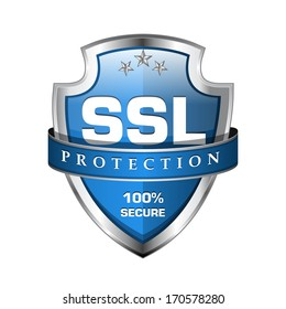 SSL Protection Secure Blue Shield Vector Icon