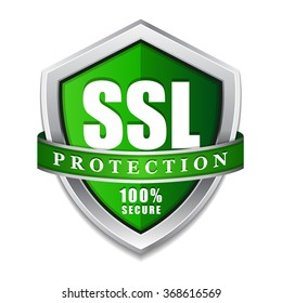 SSL Protection Secure Green Shield Vector Icon Design