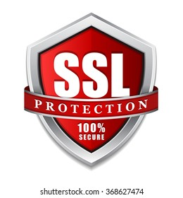 SSL Protection Secure Red Shield Vector Icon Design