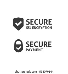 SSL secure https certificate connection icon vector illustration isolated, black and white secured shield and padlock web symbols, protected payment idea, safe data encryption technology, privacy sign