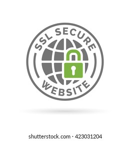 SSL Secure website icon. Globe with green padlock sign. Secure global web network symbol. Grey emblem on white background. Vector illustration.