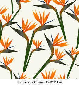 SSpring time contemporary bird of the paradise flowers seamless pattern. Vector file layered for easy manipulation and custom coloring.