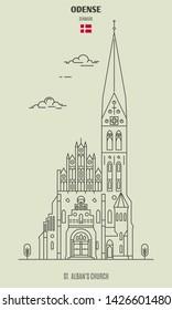 St. Alban's Church in Odense, Denmark. Landmark icon in linear style