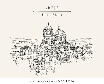 St. Alexander Nevsky Cathedral In Sofia, Bulgaria. Hand Drawing In Retro  Style.