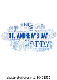 St. Andrew's Day Word Cloud. Wordcloud Made With Text.