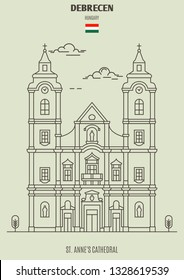 St. Anne's Cathedral in Debrecen, Hungary. Landmark icon in linear style