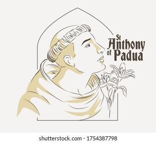 St Anthony of Padua vector illustration