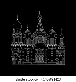 St. Basil Cathedral negative simple outline vector. Moscow, Russia symbol.