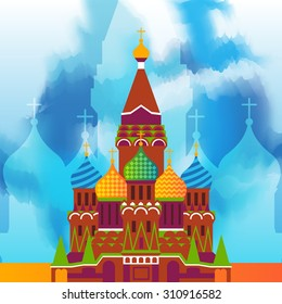 St. Basil's Cathedral in Moscow on the blue sky background. Vector illustration.
