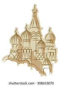St. Basil's Cathedral in Moscow. Vector illustration.