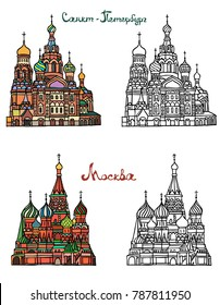 St Basils cathedral on Red Square in Moscow. Saint Petersburg, Church of the Saviour on Spilled Blood. Russian architecture. Color with black and white vector illustration of famous buildings.