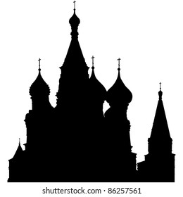 St. Basil's Cathedral on Red Square, Moscow, Russia.  Landmark Silhouette. Elegant Very Smooth and High Detail Vector illustration. Vector illustration.