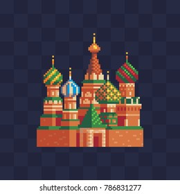 St. Basil's Cathedral. Pixel art icon. Moscow landmark, Russia, Red Square. 8-bit. Knitting design. Isolated vector illustration.
