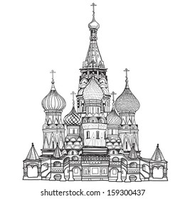 St Basil's Cathedral, Red Square, Moscow, Russia. Vector illustration isolated on white background.