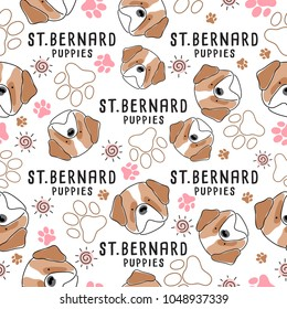 St. Bernard : Dog breed collection : Seamless Pattern : Vector Illustration