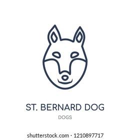 St. Bernard dog icon. St. Bernard dog linear symbol design from Dogs collection. Simple outline element vector illustration on white background.